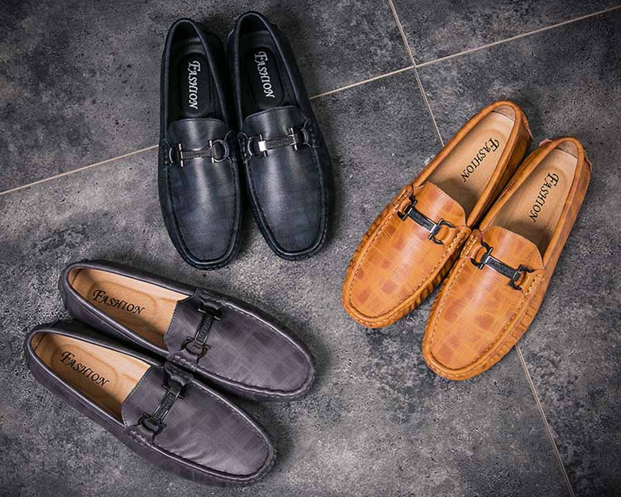 Men's stripe check metal buckle slip on shoe loafers