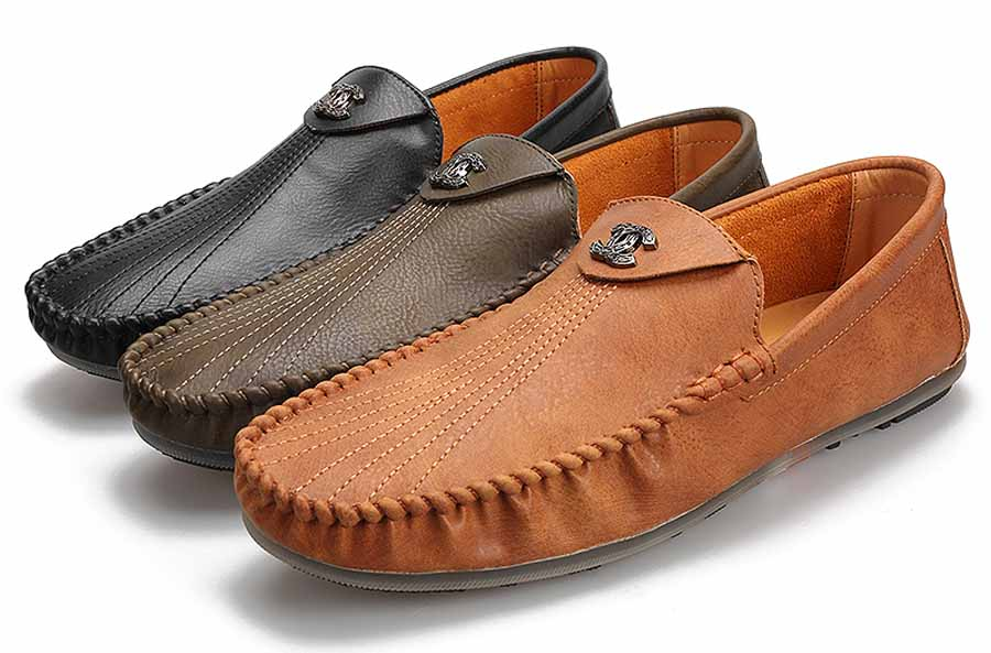 Men's stripe cross C metal slip on shoe loafers