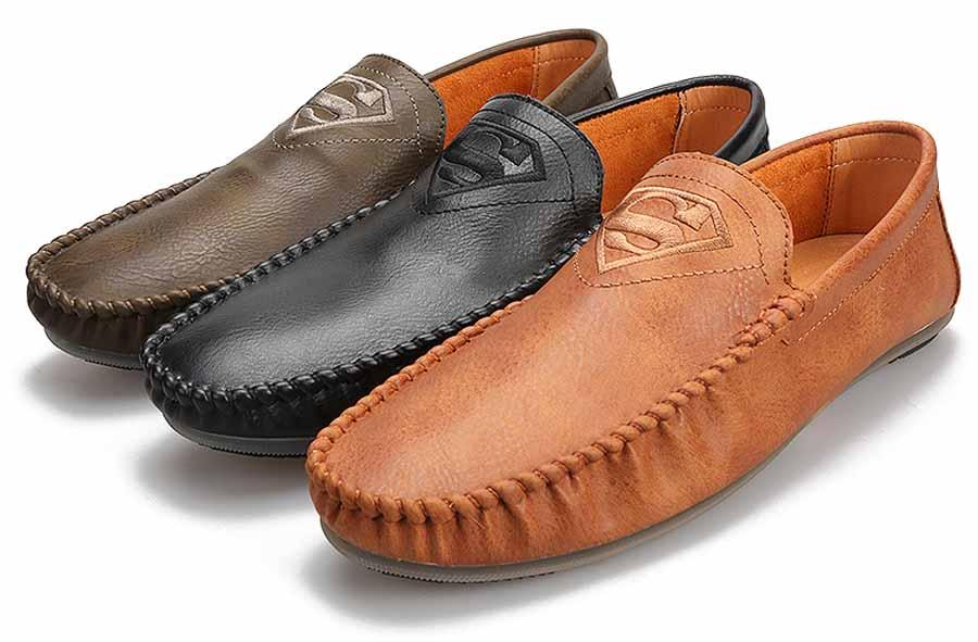 Men's S logo pattern print slip on shoe loafers