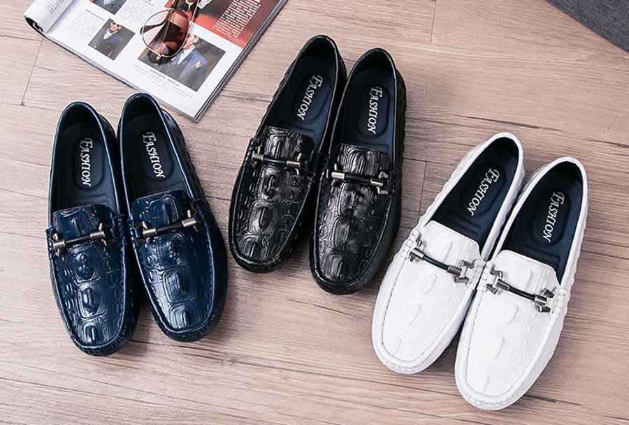 Men's crocodile skin pattern slip on shoe loafers