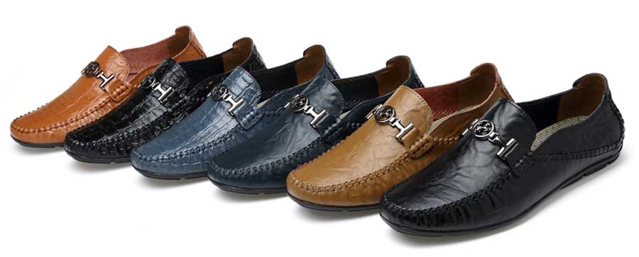 Men's crocodile pattern buckle slip on shoe loafers
