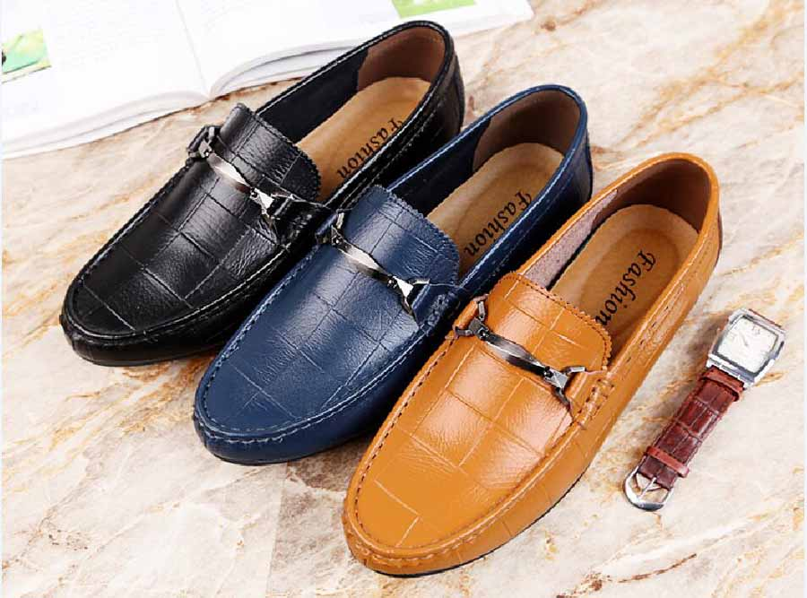 Men's brogue check buckle slip on shoe loafers