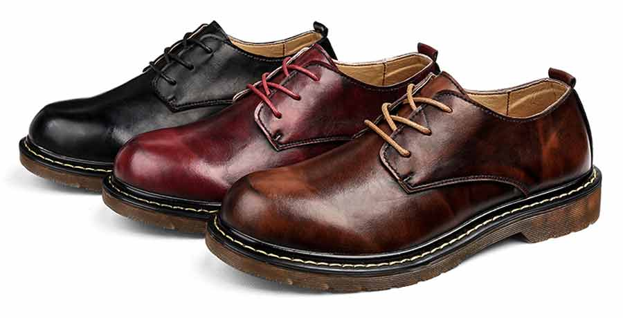 Men's round retro leather derby dress shoes