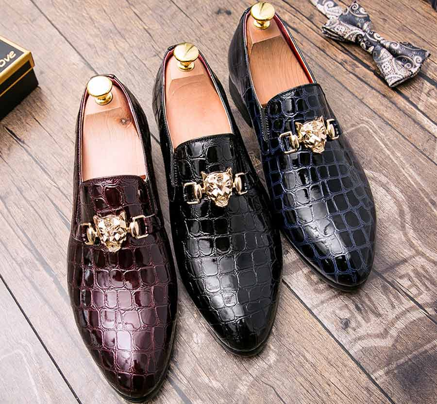 Men's check metal buckle leather slip on dress shoes