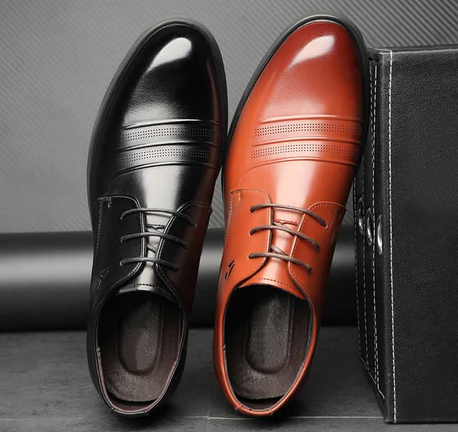 Men's stripe leather derby dress shoes