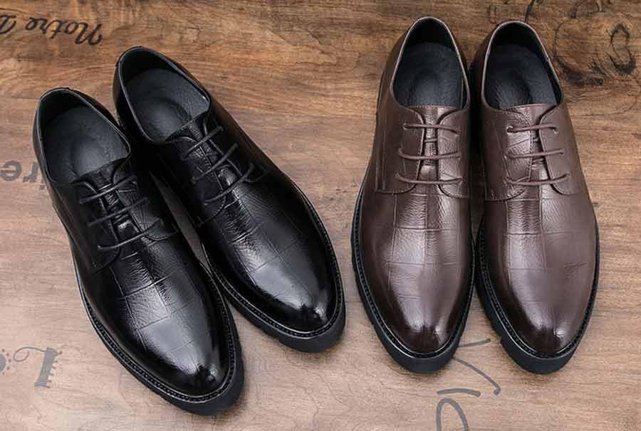 Men's check block leather derby dress shoes