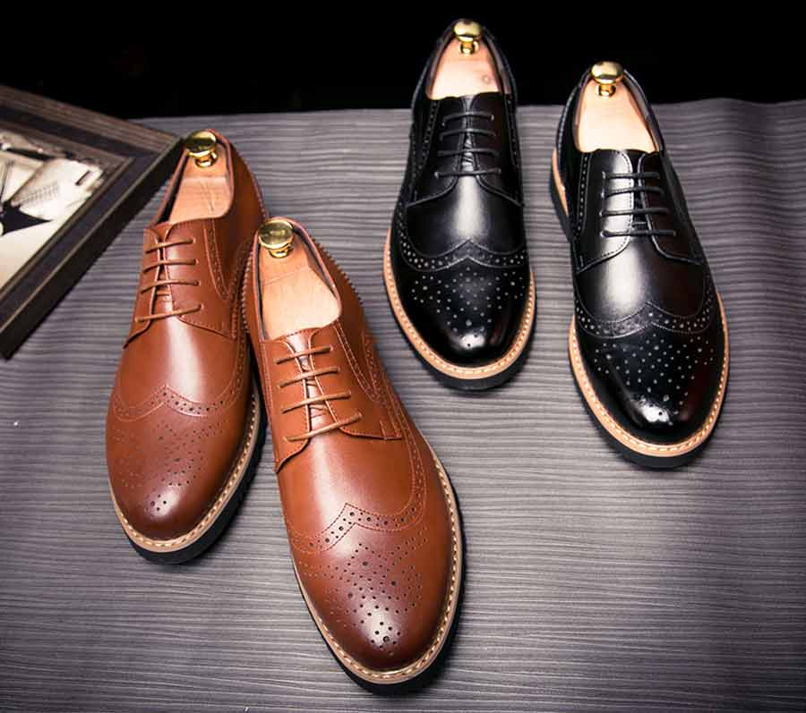 Men's brogue leather derby dress shoes