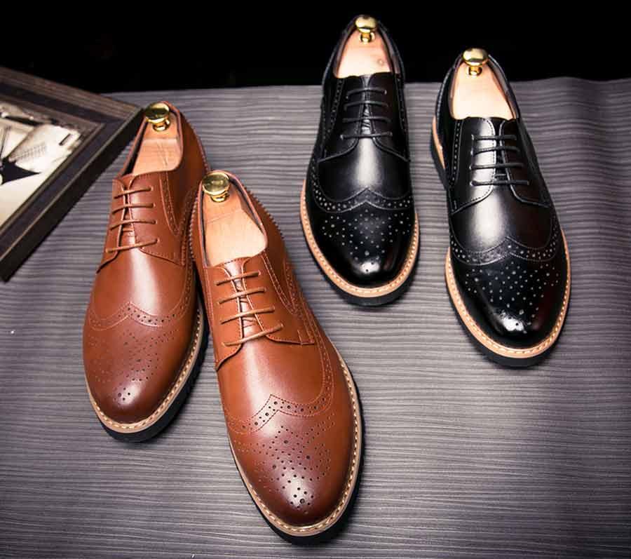 Men's brogue leather derby dress shoes
