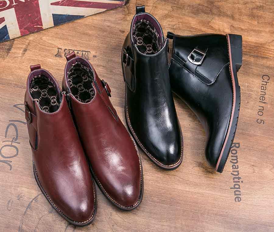 Men's buckle side zip slip on dress shoes