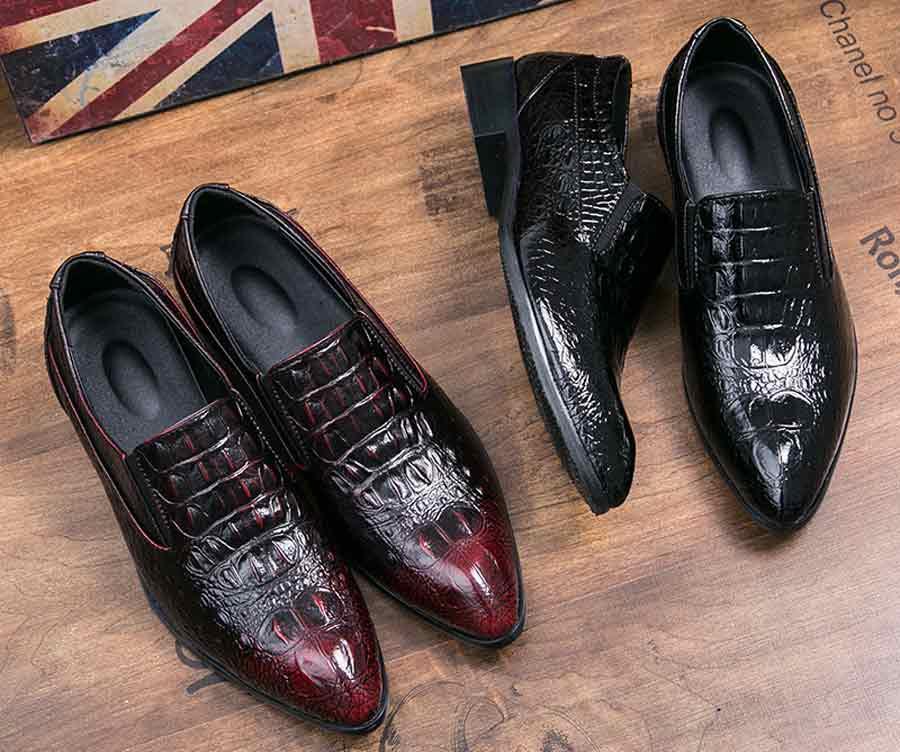 Men's crocodile skin pattern slip on dress shoes