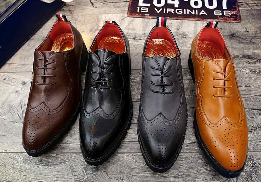 Men's brogue leather oxford dress shoes