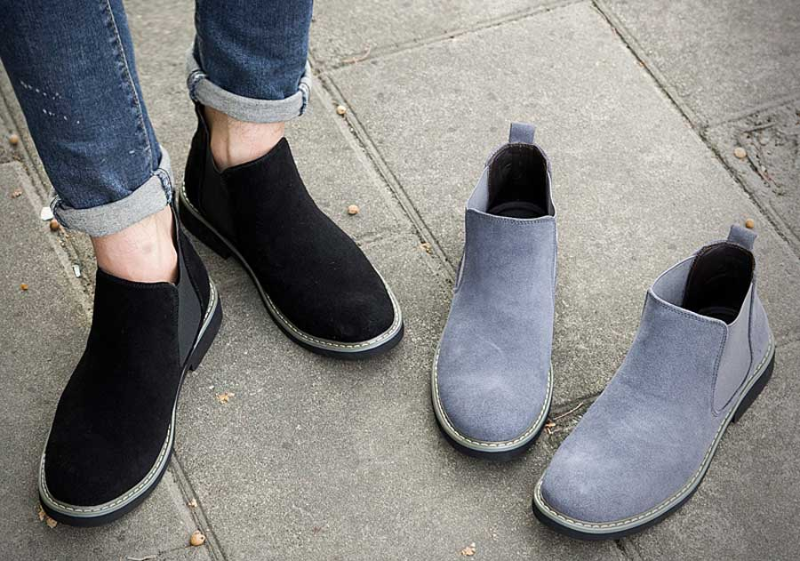 Men's slip on dress shoe boots in plain