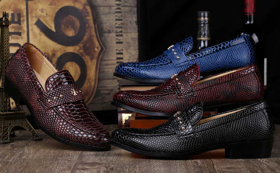 Men's snake skin pattern stud slip on dress shoes