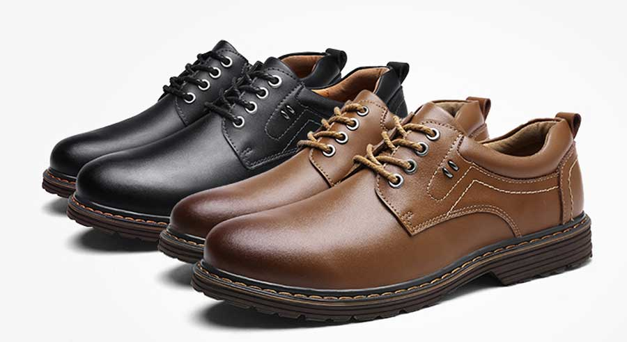 Men's rivet thread lace up dress shoes