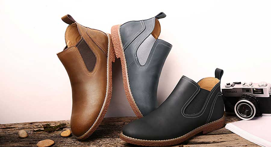 Men's slip on dress shoe boots sewing threaded