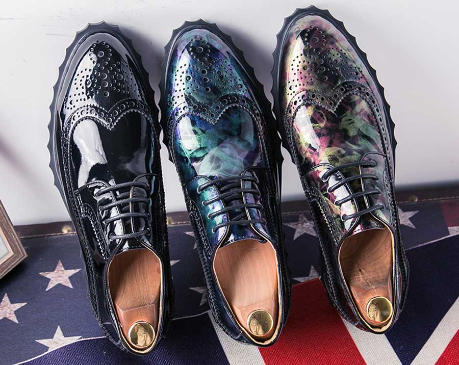 Men's camo patent leather derby brogue dress shoes