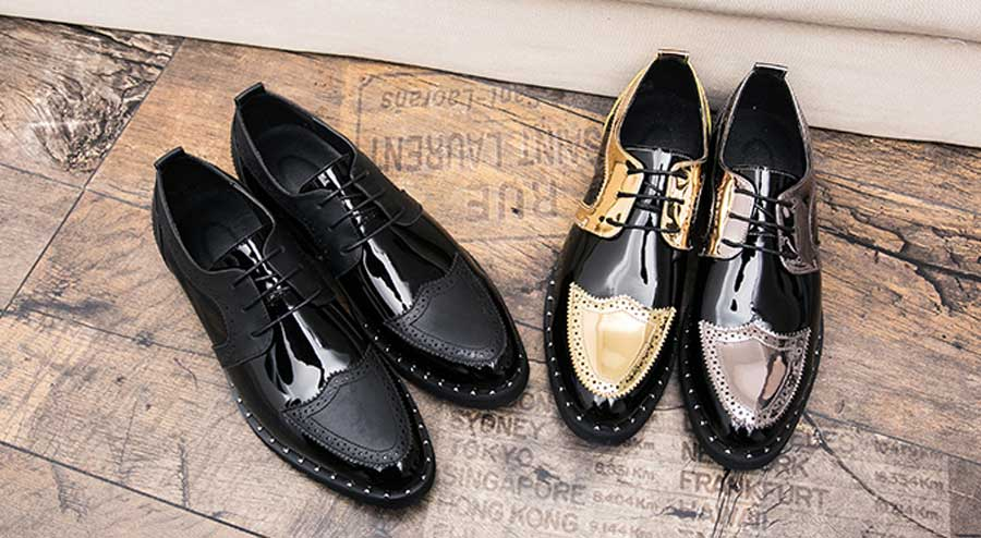 Men's patent golden two tone derby brogue dress shoes