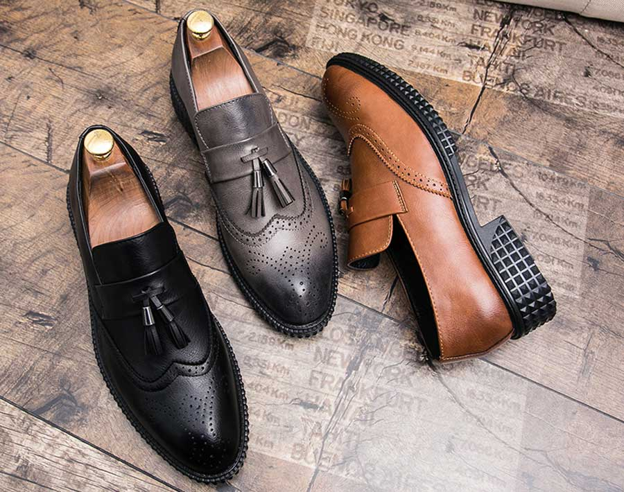 Men's retro brogue tassel slip on dress shoes