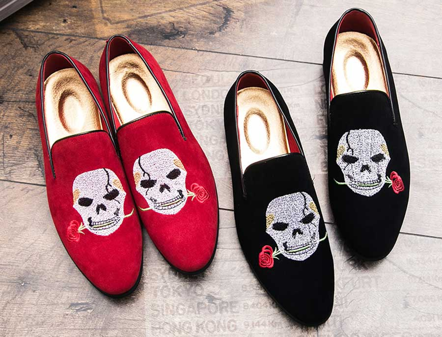 Men's skull with rose leather slip on dress shoes