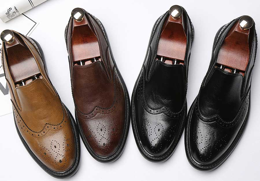 Men's retro tone brogue slip on dress shoes