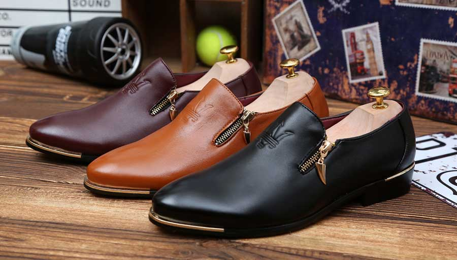 Men's slip on dress shoes zip pattern on vamp