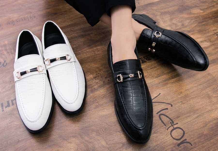 Men's buckle croco pattern slip on dress shoes
