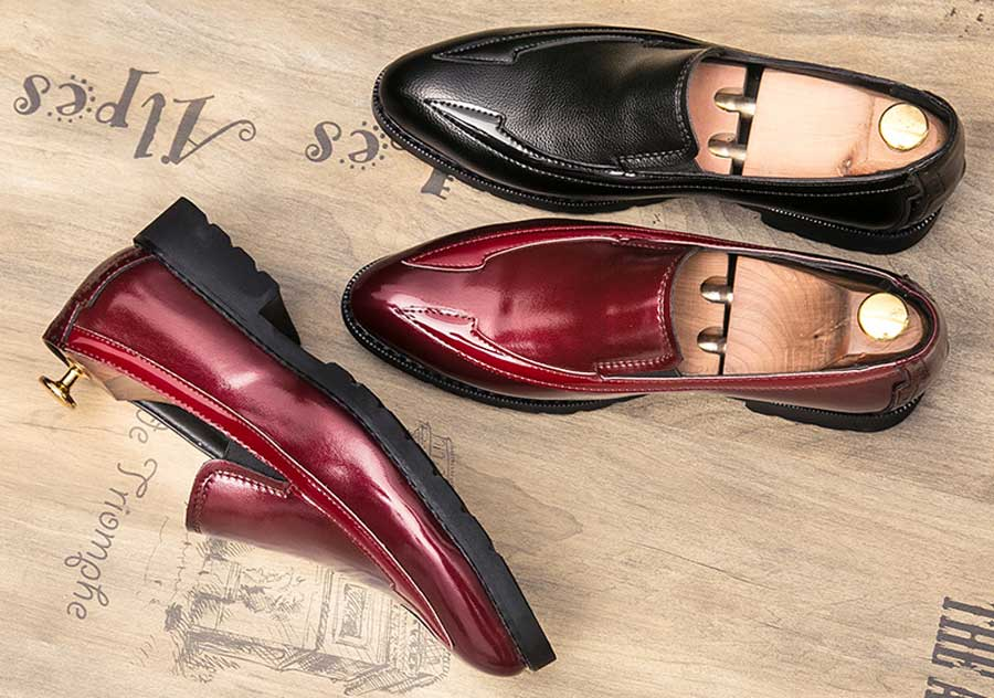 Men's point toe slip on dress shoes