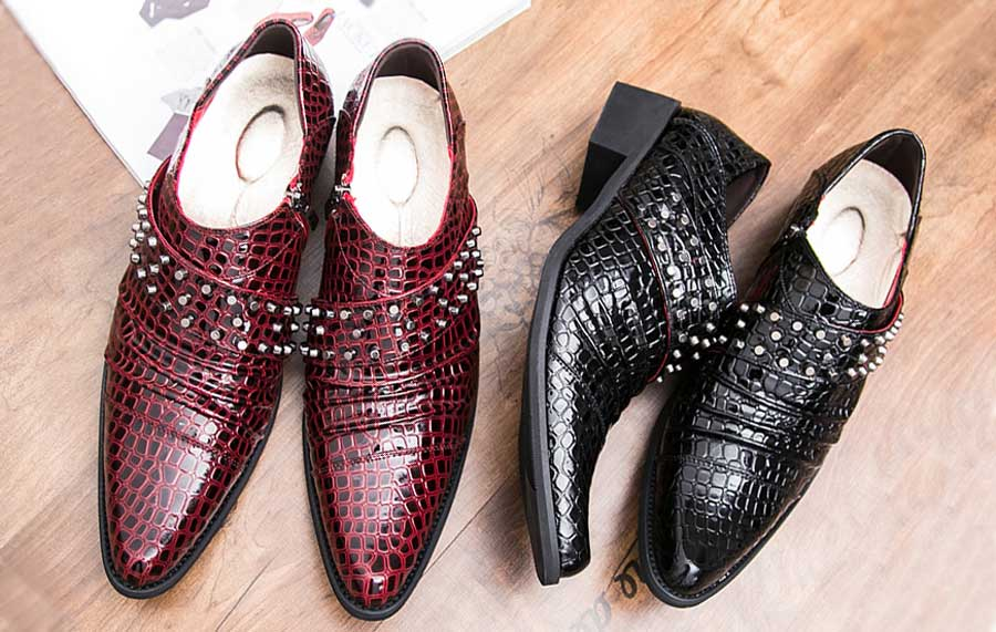 Men's pleated croco pattern studded slip on dress shoes