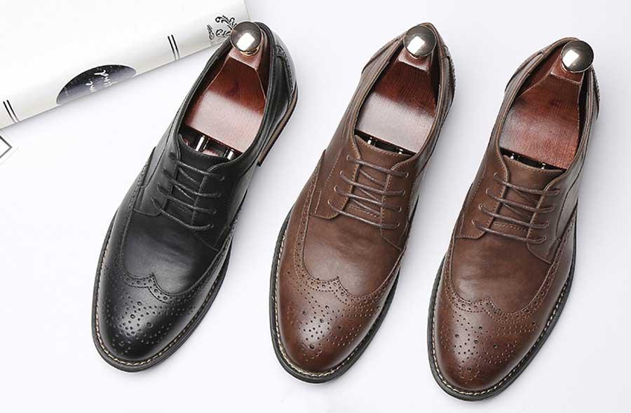 Men's retro brogue leather derby dress shoes