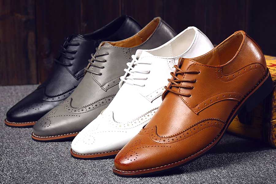 Men's retro brogue leather derby dress shoes