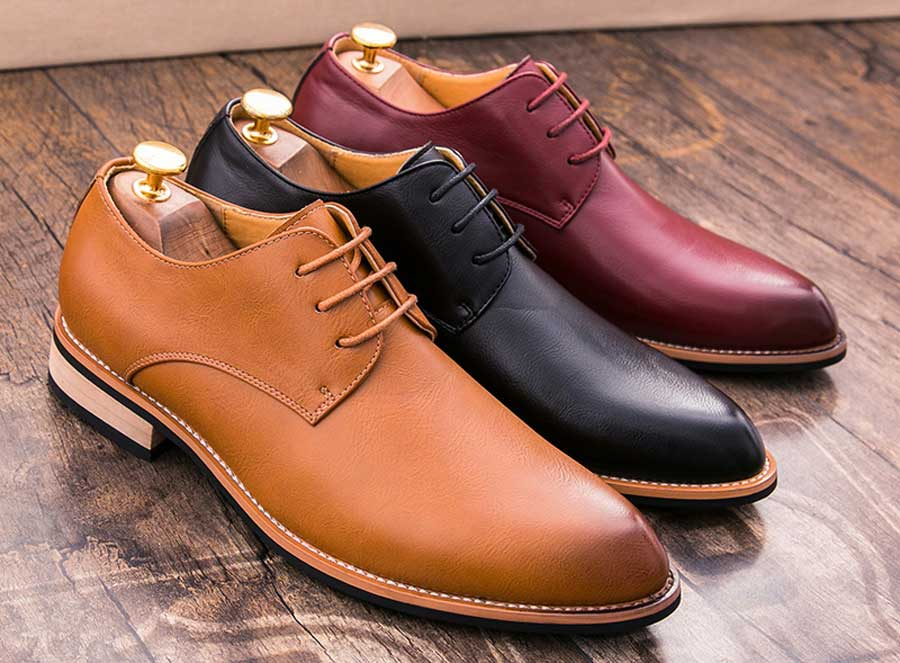 Men's retro toned leather derby dress shoes