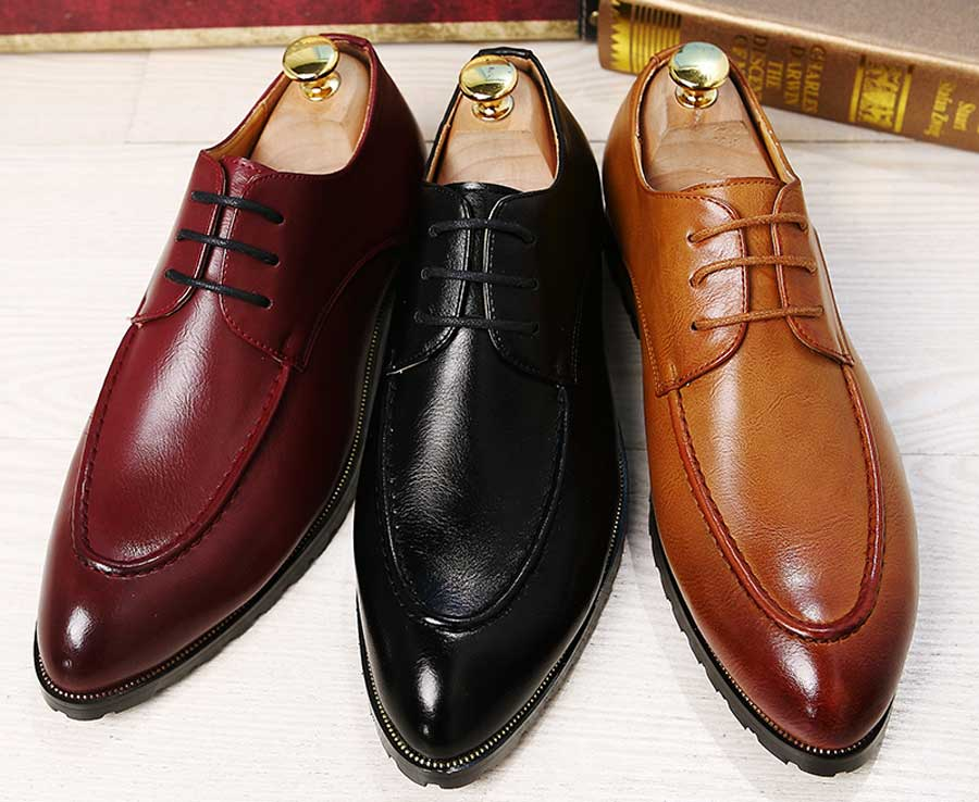 Men's retro point toe leather derby dress shoes
