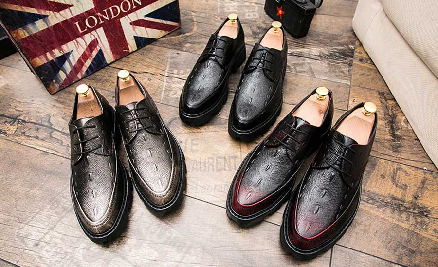 Men's texture pattern leather derby dress shoes