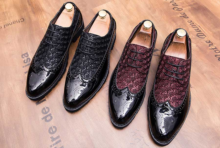 Men's brogue patent leather derby dress shoes
