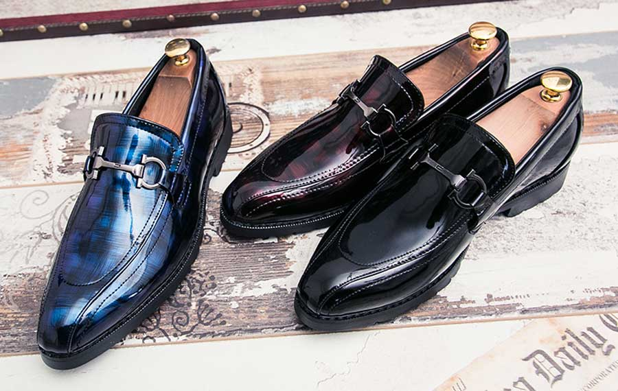 Men's patent leather buckle slip on dress shoes