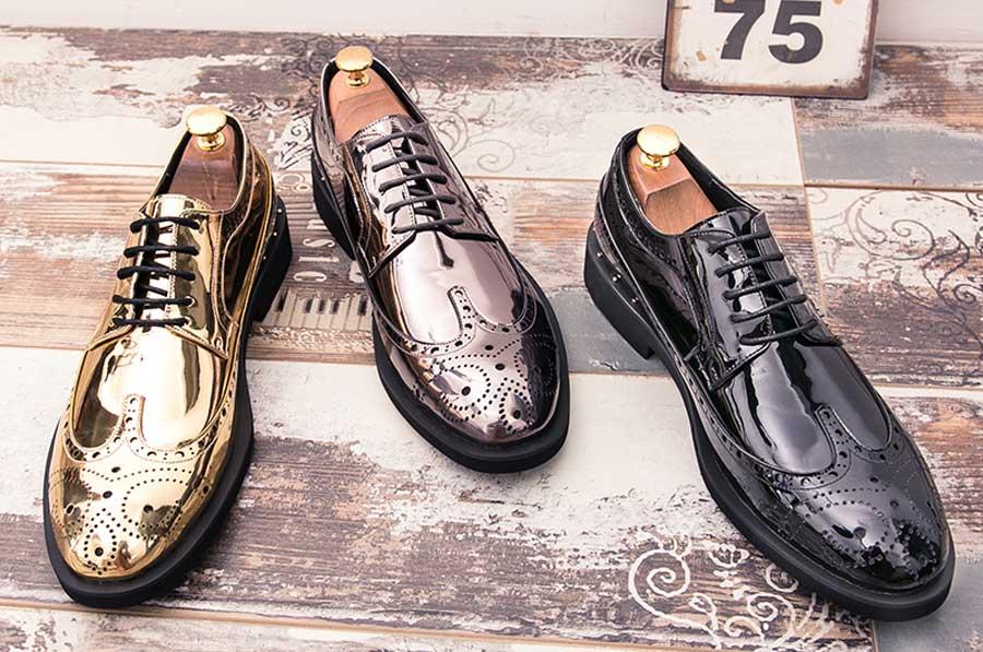 Men's brogue patent leather derby dress shoes