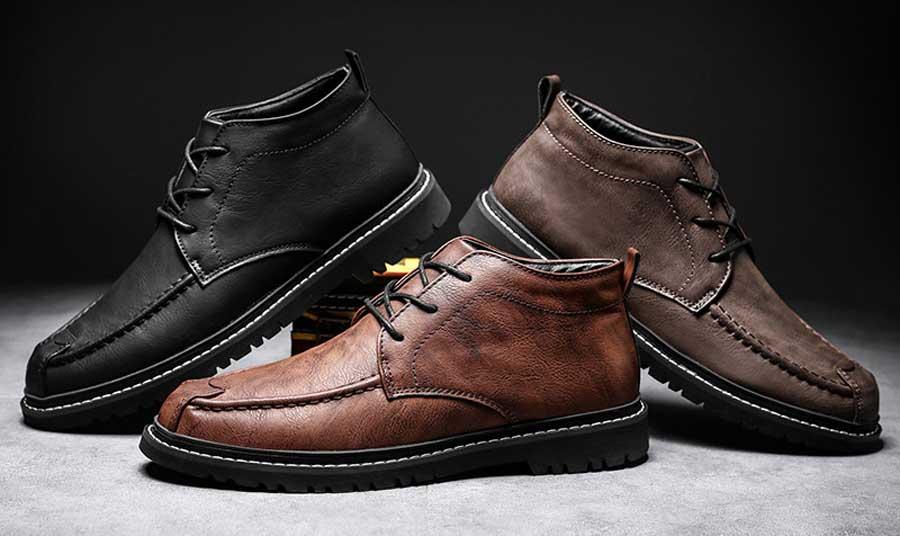 Men's classic retro leather derby dress shoes