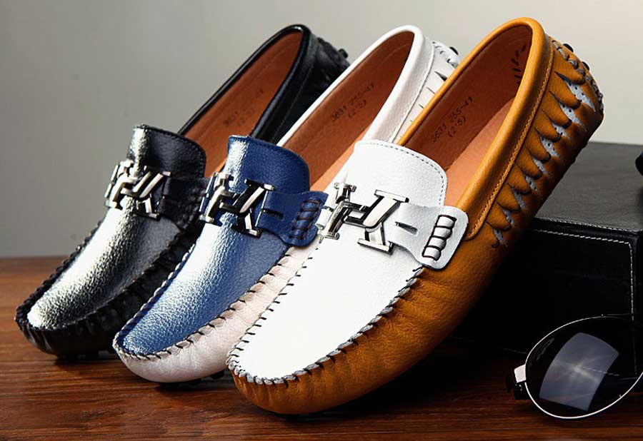 Men's metal buckle hollow leather slip on shoe loafers