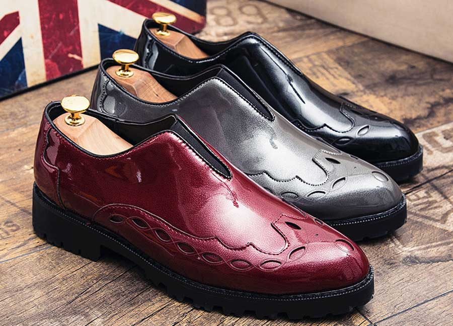 Men's pattern leather slip on dress shoes