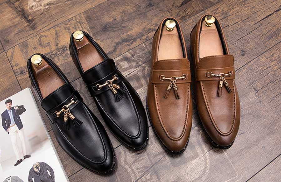 Men's tassel buckle leather slip on dress shoes