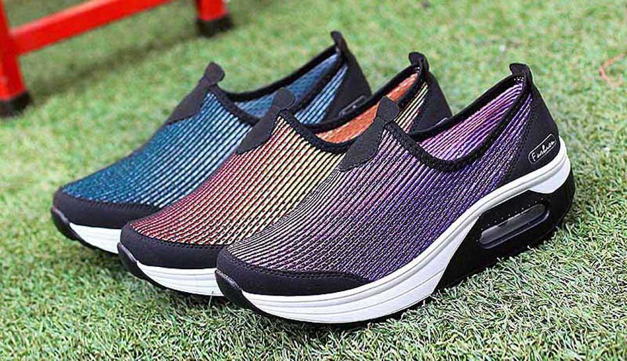 Women's slip on stripe rocker bottom sole shoe sneakers