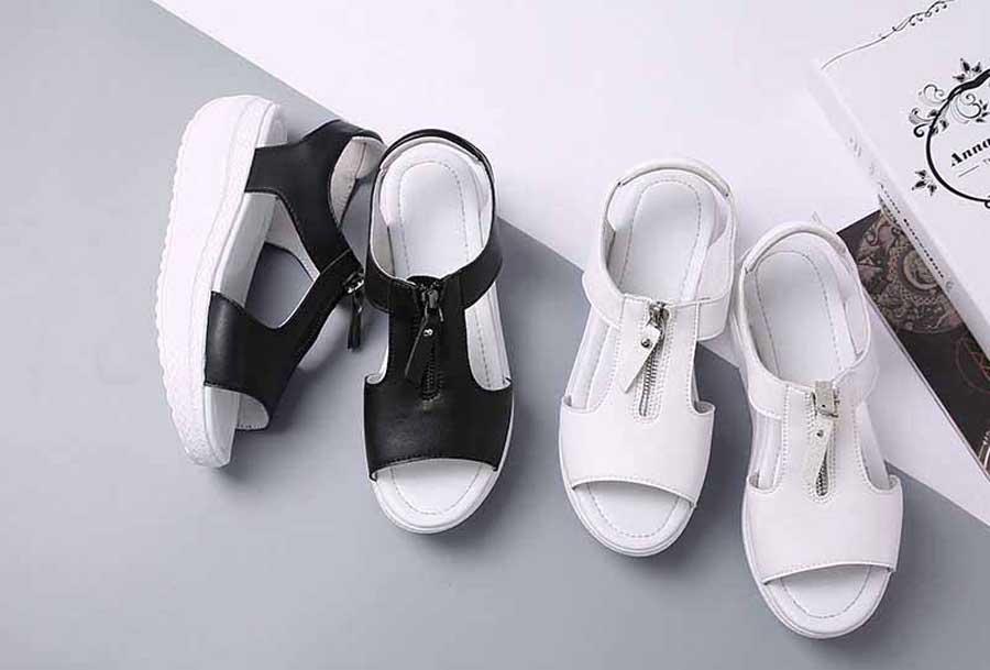 Women's zip on vamp rocker bottom sole shoe sandals