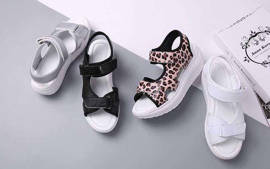 Women's double velcro pattern rocker bottom sole shoe sandals