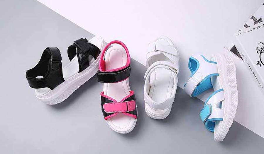 Women's double velcro rocker bottom sole shoe sandals