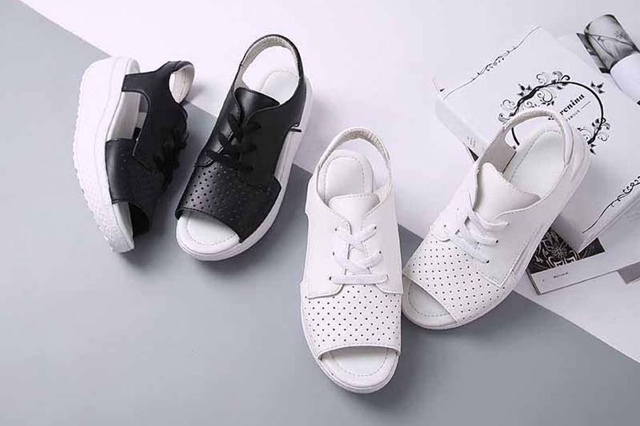 Women's hollow out lace up rocker bottom sole shoe sandals
