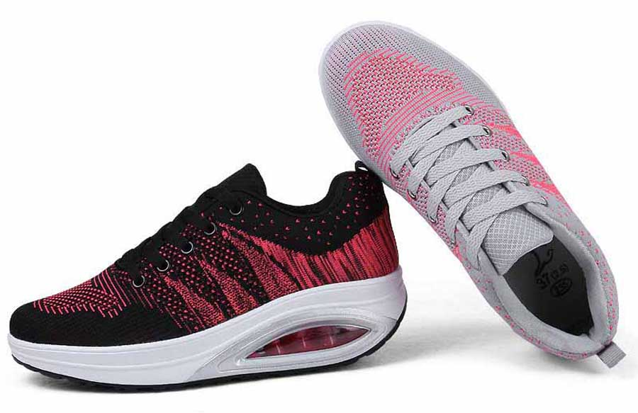 Women's flyknit stripe pattern rocker bottom shoe sneakers