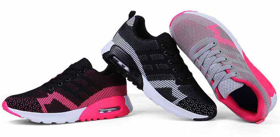 Women's flyknit hollow stripe sport shoe sneakers