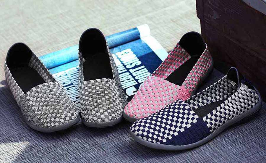 Women's check weave low cut slip on shoe sneakers