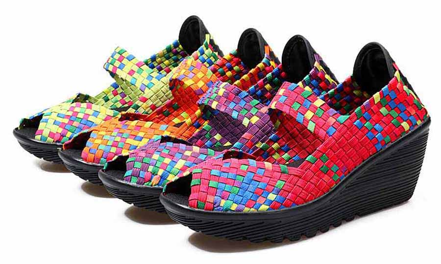 Women's rainbow check weave slip on wedge shoe sandals