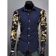 Blue long sleeve floral pattern print cotton dress shirt 01